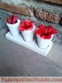 Porta maceta de cemento con 3 macetas