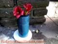 Florero de cemento rustico en azul marino